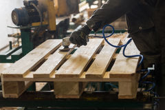 Polishing of a wooden pallet. Polishing of wooden pallet on a production line Stock Photography