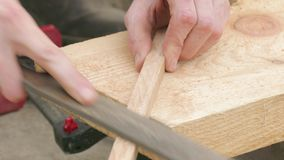 Polishing of wooden plank, close up stock video footage