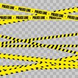Polislinje uppsättning fara stock illustrationer