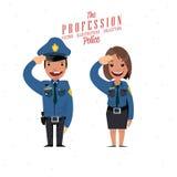 Polisman och kvinnlig - Arkivfoto