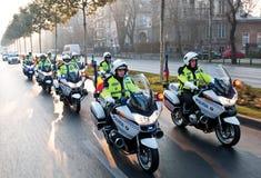 Polismotorcykeltrupp Royaltyfri Bild