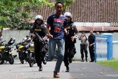 Polisoperationsimulering Arkivfoto