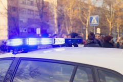 Polisrotation på bilen royaltyfria bilder