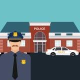 Polisstationtjänsteman som framme står av kontor med bilvektorn Arkivbild
