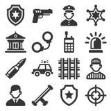 Polissymboler ställde in på vit bakgrund vektor arkivbilder