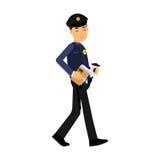 Polistecken som går med den färgrika illustrationen för kaffe och för dokument stock illustrationer