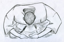 Polite bow before training. Hand drawn pencil sketch of a man performing a polite asian bow before martial arts training. He is wearing white kimono with black Stock Photos