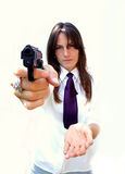 Polite criminal. Girl with gun and hand royalty free stock images