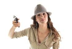 Polite retro mafia girl Royalty Free Stock Images