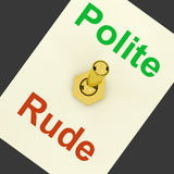 Polite Rude Lever Shows Manners And Disrespect. Polite Rude Lever Showing Manners And Disrespect Royalty Free Stock Image