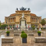 Politeama Theatre in Palermo stock images
