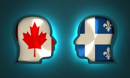 Politic and economic relationship between Canada and Quebec Royalty Free Stock Images
