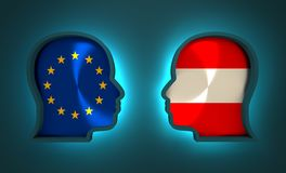 Politic and economic relationship between European Union and Austria. Image relative to politic and economic relationship between European Union and Austria Stock Images