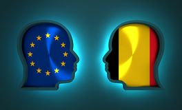 Politic and economic relationship between European Union and Belgium Royalty Free Stock Photos
