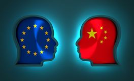 Politic and economic relationship between European Union and China. Image relative to politic and economic relationship between European Union and China Royalty Free Stock Photo