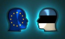 Politic and economic relationship between European Union and Estonia Royalty Free Stock Photo