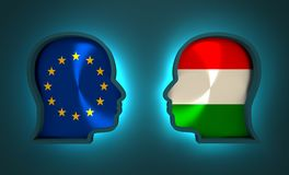 Politic and economic relationship between European Union and Hungary Stock Photo