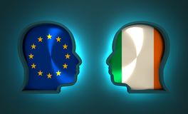 Politic and economic relationship between European Union and Ireland Stock Images