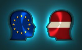 Politic and economic relationship between European Union and Latvia. Image relative to politic and economic relationship between European Union and Latvia Stock Images
