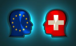 Politic and economic relationship between European Union and Switzerland. Image relative to politic and economic relationship between European Union and Royalty Free Stock Photography