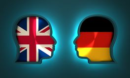 Politic and economic relationship between Germany and Britain. Image relative to politic and economic relationship between Germany and Britain. National flags Stock Photography