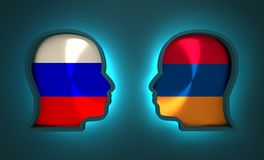 Politic and economic relationship between Russia and Armenia. Image relative to politic and economic relationship between Russia and Armenia. National flags Royalty Free Stock Photos