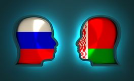 Politic and economic relationship between Russia and Belarus. Image relative to politic and economic relationship between Russia and Belarus. National flags Stock Photo