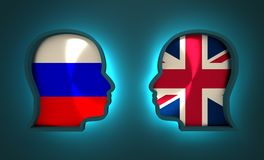 Politic and economic relationship between Russia and Britain. Image relative to politic and economic relationship between Russia and Britain. National flags Royalty Free Stock Photography
