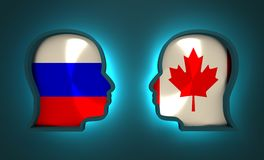 Politic and economic relationship between Russia and Canada. Image relative to politic and economic relationship between Russia and Canada. National flags inside Royalty Free Stock Photography
