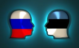 Politic and economic relationship between Russia and Estonia. Image relative to politic and economic relationship between Russia and Estonia. National flags Stock Images