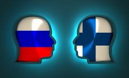 Politic and economic relationship between Russia and Finland. Image relative to politic and economic relationship between Russia and Finland. National flags Royalty Free Stock Photos