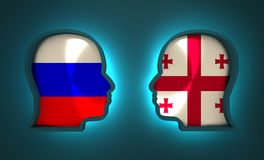 Politic and economic relationship between Russia and Georgia. Image relative to politic and economic relationship between Russia and Georgia. National flags Royalty Free Stock Photography