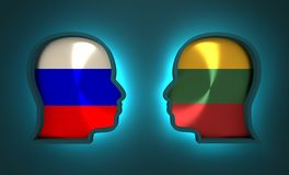Politic and economic relationship between Russia and Lithuania. Image relative to politic and economic relationship between Russia and Lithuania. National flags Royalty Free Stock Images