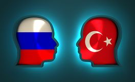 Politic and economic relationship between Russia and Turkey. Image relative to politic and economic relationship between Russia and Turkey. National flags inside Royalty Free Stock Photos