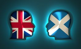 Politic and economic relationship between Scotland and Britain. Image relative to politic and economic relationship between Scotland and Britain. National flags Royalty Free Stock Photography