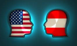 Politic and economic relationship between USA and Austria. Image relative to politic and economic relationship between USA and Austria. National flags inside the Stock Photography