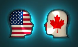 Politic and economic relationship between USA and Canada. Image relative to politic and economic relationship between USA and Canada. National flags inside the Stock Photo