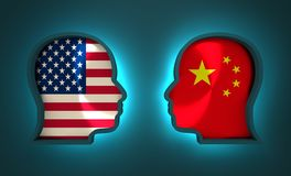 Politic and economic relationship between USA and China Royalty Free Stock Images