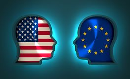 Politic and economic relationship between USA and Europe. Image relative to politic and economic relationship between USA and Europe. National flags inside the Royalty Free Stock Image