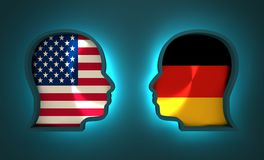 Politic and economic relationship between USA and Germany. Image relative to politic and economic relationship between USA and Germany. National flags inside the Stock Images