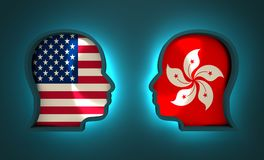 Politic and economic relationship between USA and Hong Kong. Image relative to politic and economic relationship between USA and Hong Kong. National flags inside Royalty Free Stock Photos
