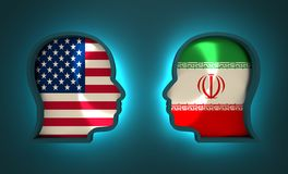 Politic and economic relationship between USA and Iran. Image relative to politic and economic relationship between USA and Iran. National flags inside the heads Stock Photography