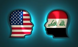 Politic and economic relationship between USA and Iraq. Image relative to politic and economic relationship between USA and Iraq. National flags inside the heads Stock Photo
