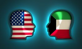 Politic and economic relationship between USA and Kuwait Royalty Free Stock Images