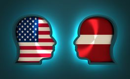 Politic and economic relationship between USA and Latvia. Image relative to politic and economic relationship between USA and Latvia. National flags inside the Stock Images