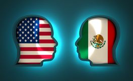 Politic and economic relationship between USA and Mexico. Image relative to politic and economic relationship between USA and Mexico. National flags inside the Royalty Free Stock Photography
