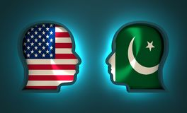 Politic and economic relationship between USA and Pakistan. Image relative to politic and economic relationship between USA and Pakistan. National flags inside Stock Images