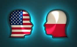 Politic and economic relationship between USA and Poland. Image relative to politic and economic relationship between USA and Poland. National flags inside the Royalty Free Stock Photography