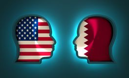 Politic and economic relationship between USA and Qatar. Image relative to politic and economic relationship between USA and Qatar. National flags inside the Stock Photo