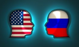 Politic and economic relationship between USA and Russia Stock Photo